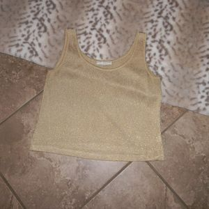 St. John Basics Metallic Gold Knit Tank Top